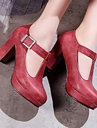 Недорогие -Жен. Обувь Полиуретан Весна / Осень Удобная обувь / Оригинальная обувь На плокой подошве На толстом каблуке Круглый носок Пряжки Черный /