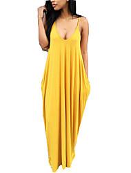 preiswerte -Damen Boho T Shirt Kleid Solide Maxi