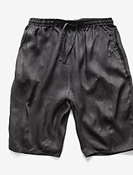 abordables -Pantalones cortos micro-elásticos de mediados de la subida de los hombres normales, verano de la primavera del poliester sólido de la