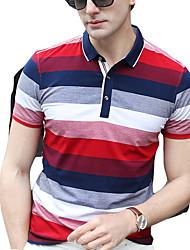 baratos -Homens Polo Moda de Rua Listrado Colarinho de Camisa