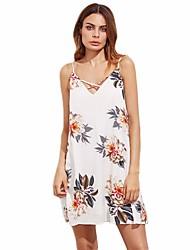 preiswerte -Damen Lose Kleid - Rückenfrei, Blumen Gurt
