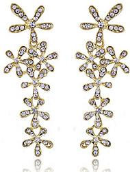 abordables -Mujer Copo de Nieve Cristal Diamante Sintético Pendientes colgantes - Formal / Moda Dorado / Plata Aretes Para Fiesta / Noche