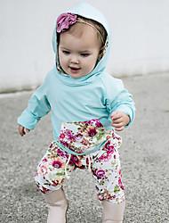 povoljno -Dijete Djevojčice Pamuk Spandex Cvjetni print Dnevno Proljeće Ljeto Dugih rukava Komplet odjeće Aktivan Svjetloplav
