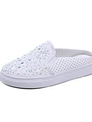 preiswerte -Damen Schuhe Künstliche Mikrofaser Polyurethan Tüll Frühling Sommer Neuheit Komfort Loafers & Slip-Ons Flacher Absatz Runde Zehe Strass