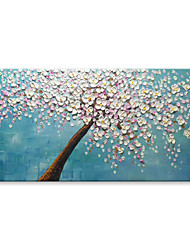 cheap -STYLEDECOR Modern Hand Painted The Pink Flower Tree in Blue Space Abstract Canvas Oil Painting Wall