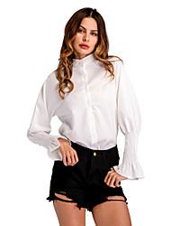 abordables -Mujer Trabajo Volante - Algodón Camisa, Escote Chino Delgado Un Color