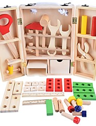 cheap -Wooden Child Carpenter Construction Tool Box Toy Tools Toy Any Shape Exquisite Wooden Boys' Kid's Gift 35pcs