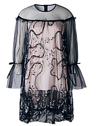 cheap -Women's Slim Sheath Dress - Solid Colored Lace High Waist Mini / Summer