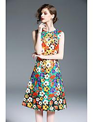 economico -Per donna Moda città Linea A Fodero Vestito - Basic, Fantasia floreale Medio
