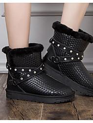 abordables -Mujer Zapatos Piel Otoño / Invierno Confort / Botas de nieve Botas Tacón Plano Botines / Hasta el Tobillo Negro / Plata
