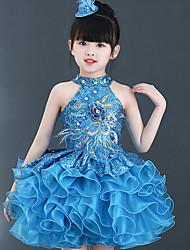 abordables -Ballet Vestidos Rendimiento Poliéster Diseño / Estampado Lentejuela Cristales / Rhinestones A Capas Sin Mangas Cintura Alta Vestido