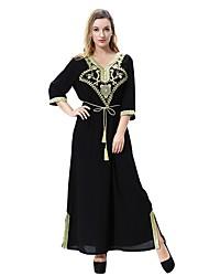 Недорогие -Жен. Большие размеры Классический / Богемный Свободный силуэт Свободный силуэт Платье - Сплошной цвет V-образный вырез Макси