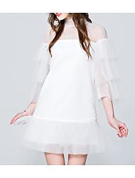 abordables -Femme Mince Trapèze Robe - Effets superposés / Mosaïque, Couleur Pleine Col Ras du Cou Au dessus du genou / Eté