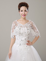 cheap -Sleeveless Lace Wedding / Party / Evening Women's Wrap With Rhinestone / Lace-up Capelets
