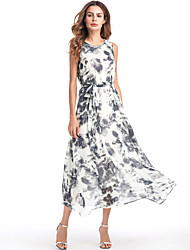 cheap -Women's Beach Boho Loose Chiffon Swing Dress - Color Block, Print High Waist Maxi