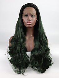 cheap -Synthetic Lace Front Wig Natural Wave Layered Haircut Synthetic Hair Color Gradient / Middle Part Black / Green Wig Women's Mid Length Lace Front Black / Dark Green