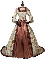 abordables -Victorien Rococo Costume Femme Adulte Robes Marron Vintage Cosplay Polyester/Coton Manches 3/4 Fendu