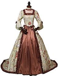 billige -Rokoko Victoriansk Kostume Dame Kjoler Brun Vintage Cosplay Polyester / Bomuld 3/4-ærmer Split Halloween Kostumer / Blomstret