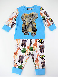 cheap -Boys' Daily Animal Print Color Block Clothing Set, Cotton Spring Fall Long Sleeves Active Blue