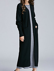 cheap -Women's Long Sleeves Loose Long Cardigan - Solid Colored V Neck