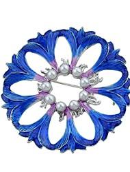 baratos -Mulheres Broches , Imitação de Pérola Básico Fashion Liga Flor Azul Jóias Para Diário Encontro
