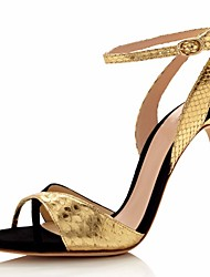preiswerte -Damen Schuhe Leder Frühling Sommer Pumps Komfort Sandalen Stöckelabsatz für Normal Gold Grün