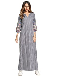 cheap -SHE IN SUN Women's Shift Dress - Striped Floral Color Block Basic Embroidered Maxi V Neck