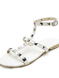 cheap -Women's Shoes Leatherette Spring Summer Gladiator Comfort Sandals Jewelry Heel Open Toe for Outdoor White Black Pink