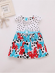 cheap -Girl's Daily Holiday Solid Polka Dot Floral Dress, Cotton Summer Short Sleeves Cute Active Blue Red Purple Fuchsia