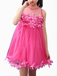 cheap -Girl's Daily Solid Dress, Cotton Polyester Spring Summer Sleeveless Simple Cute White Blushing Pink Fuchsia