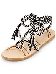 cheap -Women's Shoes Linen Spring / Summer Comfort / Gladiator Sandals Flat Heel Open Toe Beige / Black / White / Lace up