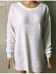 Недорогие -Жен. Длинный рукав Пуловер - Однотонный Глубокий V-образный вырез