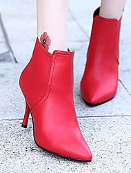 cheap -Women's Shoes PU Spring Fall Fashion Boots Comfort Boots Stiletto Heel Booties/Ankle Boots for Casual Black Red
