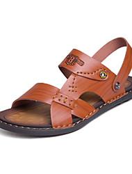 Недорогие -Муж. Искусственная кожа Лето Удобная обувь Сандалии Черный / Коричневый / Хаки