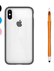 baratos -Capinha Para Apple iPhone X iPhone 8 Plus Antichoque Transparente Capa traseira Côr Sólida Macia TPU para iPhone X iPhone 8 Plus iPhone 8