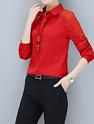 cheap -Women's Work Business Street chic Slim Blouse - Solid Colored, Basic Shirt Collar