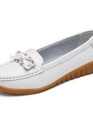 baratos -Mulheres Sapatos Pele Primavera / Outono Conforto Rasos Sem Salto Amarelo / Vermelho / Rosa claro