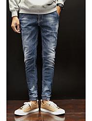 Недорогие -мужские штаны среднего роста с микро-эластичными брюками, простой твердый полиэфир хлопка в любое время года