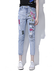 cheap -Women's Cotton Slim Jeans Pants - Geometric / Letter Hole / Embroidered / Spring / Summer / Holiday