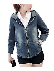baratos -Mulheres Jaqueta jeans Casual - Sólido