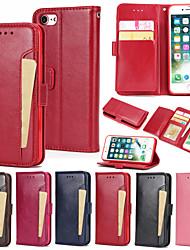 Недорогие -Кейс для Назначение Apple iPhone 8 Pluss / iPhone 8 / iPhone 7 Plus Кошелек / Бумажник для карт / со стендом Чехол Однотонный Твердый Кожа PU
