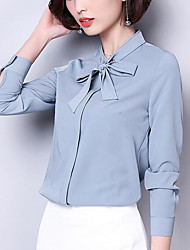 cheap -Women's Puff Sleeve Loose Blouse - Solid, Basic Shirt Collar