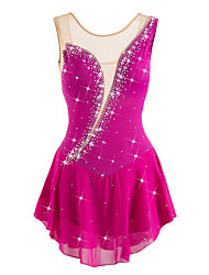 cheap -Figure Skating Dress Women's / Girls' Ice Skating Dress Rose Red Rhinestone / Sequin High Elasticity Outdoor clothing / Practise Skating Wear Anatomic Design, Handmade Classic / Sexy Sleeveless Ice