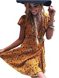 Недорогие -Жен. Очаровательный Оболочка Платье - Однотонный Мини