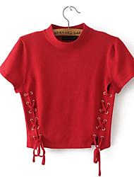 preiswerte -Damen Solide-Niedlich T-shirt