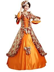 abordables -Princesse Conte de Fée Renaissance Années 20 Costume Femme Robes Costume Bal Masqué Costume de Soirée Tenue Orange Vintage Cosplay