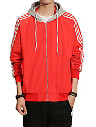 cheap -Men's Jacket - Solid Colored, Basic Hooded