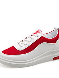Dame Sko PU Forår Efterår Komfort Sneakers Flade hæle for udendørs Hvid Sort Rød