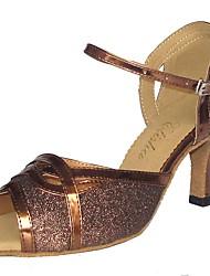 cheap -Women's Latin Sparkling Glitter Sandal Indoor Customized Heel Gold Black Silver Bronze Customizable