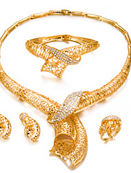 cheap -Women's Jewelry Set - Gold Plated Fashion, Statement Include Bracelet Bangles / Stud Earrings / Choker Necklace Gold For Wedding / Party / Ring